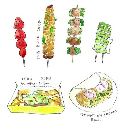 Candied Strawberries, Pigs Blood Cake, Scallion Pork, Grilled Mochi, Chou Dofu, and Ice Cream roll